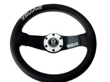 """High Quality Sparco Style Leather 12.6"""" Strong Black Spoke Racing Steering Wheel"""
