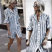 Womens Horn Half Sleeve Long Blouse Ladies Loose Casual Striped Tops Shirt Dress