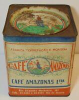 Old Vintage 1930s CAFE AMAZONAS COFFEE TIN GRAPHIC 1 POUND RIO DE JANEIRO BRAZIL