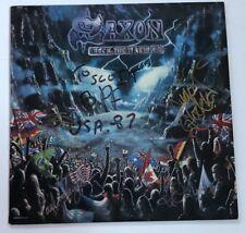 "Saxon Lp ""Rock The Nations"" ~ ORIGINAL ~ SIGNED BY BAND ~ Rare ~ Autograph"