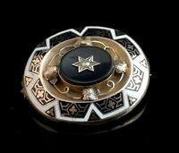 Antique Victorian gold enamel mourning brooch, onyx and pearl