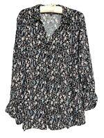AUTOGRAPH Plus Size Women Long Sleeve Button Up Blouse Black Floral - Size 16