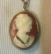 Carved Shell Cameo Pin Pendant Diamond Necklace Brooch Locket