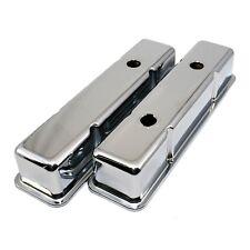 Chrome Tall Steel Valve Covers - SBC Chevy 283 305 327 350 400 w/ Oil Cap Hole