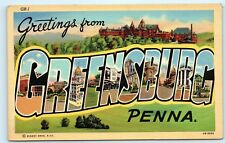 *1945 Large Letter Greetings from Greensburg Pennsylvania Postcard B44