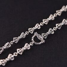 Solid 925 Sterling Silver Mens Heavy Sacred Vajra Dorje Chain Necklace