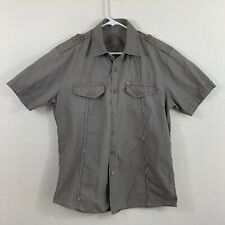 7 Diamonds Men's Gray Button Down Shirt Short Sleeve Size Large L