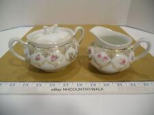 Hohenzollern China Wittelsbach Germany Pink Rose Gold Trim Creamer & Sugar Bowl