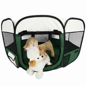 45'' 8 Panel Exercise Crate Cage Indoor Pet Dog Playpen Fence Oxford Green SK