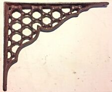 SET OF 2 LARGE HONEYCOMB LATTICE SHELF BRACKET BRACE Rustic Antique Brown Iron