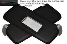 RED STITCHING 2X SUN VISORS LEATHER SKIN COVERS FITS FIAT PUNTO MK2 1999-2004