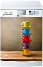 Adhesivo lavavajillas decoración cocina electrodomésticos tazas de colores 693