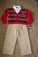 NWT Boys Nautica 3 piece Set Red V Neck Sweater White Dress Shirt Cords Size 4