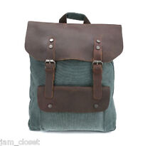 Stylish Genuine Leather Cotton Canvas Backpack School Bag Travel Bag in Teal