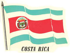 COSTA RICA   Flag   Vintage-Style  1950's    Travel Decal/Luggage Label/Sticker
