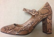 M&S Autograph Leather Snake Print Mary Jane Block Heel Insolia Shoes 7 40.5