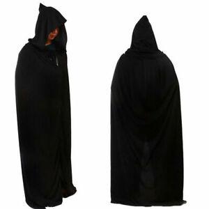 67in Adult Long Hooded Cape Cloak Coat Fancy Dress Grim Reaper Costume