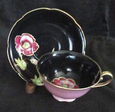MERIT OCCUP JAPAN RAISED GOLD FLORAL BLACK PINK BACKGROUND V FANCY CUP & SAUCER