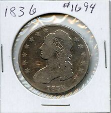 1836 50C Lettered Edge Capped Bust Silver Half Dollar. Circulated. Lot #1386