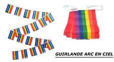GUIRLANDE BANDEROLE ARC EN CIEL 15 FANIONS DRAPEAU 15 X 10 cm GAY PRIDE RAINBOW