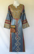 VINTAGE 1960s 70s PAKISTANI ? ETHNIC FESTIVAL DRESS & PURSE BELT COTTON SILK?
