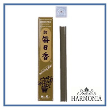 MORNING STAR GREEN TEA 50 Sticks Box with Holder Nippon Kodo Japanese Incense