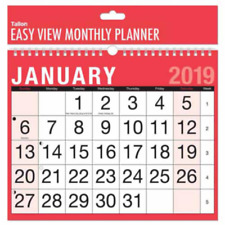 Wall Planner Calendar 2019 A4 Landscape Easy Month To View Spiral Bound  3802