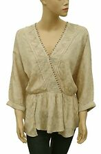 142783 New Free People Embroidered Embellished Lace Beige Tunic Top Small S
