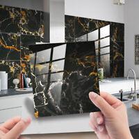 10pcs Black Gold Marble Brick Self-adhesive Bath Kitchen Wall Stair Tile Sticker