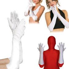 White Lycra Stretch Gloves Elbow Bridal Opera Superhero Halloween Party XS-XL US