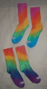 SOCKS TIE DYE 2 pair ankle calf rainbow blue pink purple yellow anklet HANES