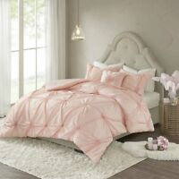 Elegant Blush Pink / Dk Grey Tufting textured Comforter Cal King Queen 4 pcs Set