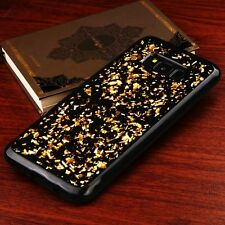 For Samsung Galaxy S8+ PLUS GOLD Flakes Soft Black Gel Rubber Silicone Skin Case