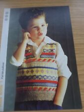 VINTAGE 1980S 1985 4 PLY KNITTING PATTERN BABIES FAIRISLE TANK TOP 20 - 24 in