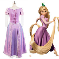 Disney Tangled Princess Rapunzel Party Dress COSplay Costume Adult Kids Size