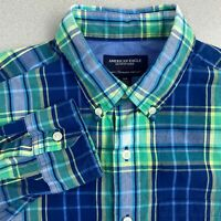 American Eagle Button Up Shirt Mens S Blue Green Long Sleeve Plaid Athletic Fit
