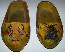 Vintage Dutch Wooden Clogs Small Hand Carved dated 1944 hand painted decorations
