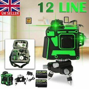 12 Line Laser Level Green Self Leveling 3D Cross Measure Tool Kit + 2 Battery