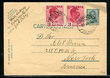 Roumanie - Entier postal + complément de Valealuimihai pour New York en 1940