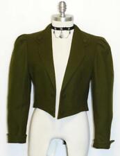 "GREEN WOOL JACKET Women AUSTRIA Sport Short Bolero Cropped Riding Suit S B38"""