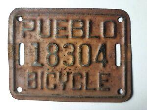 Pueblo Bicycle License Plate Tag Colorado