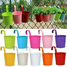 Metal Iron Flower Pots Hanging Balcony Garden Plant Planter Home Decor Set Of 10