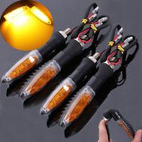 4X Universal Motorcycle LED Turn Signal Indicators Amber Motorbike Turning Light