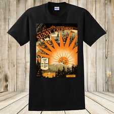 New Sunny California T-Shirt Vintage Sheet Music Art Surfing Fishing Sports Oil