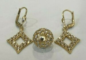 9k Solid two tone Gold Pendant & Earrings set 3.75g