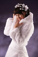 Super Wedding Ivory Faux Fur Shrug Bridal Bolero Jacket Coat Long Sleeve    A-01