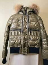 Moncler Women's Puffer Down Jacket Khaki  Size 1 Bomber Putty Hooded 100% Auth