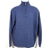J Crew 100% Lambs Wool Leather 1/2 Zip Sweater Men's Large XL Blue 13956