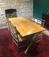More details for antique oak and beechwood farmhouse table and 6 rush seated chairs c.1951