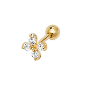 Genuine 9ct Yellow Gold Daisy Flower CZ Cartilage Body Helix Stud - Gift Boxed